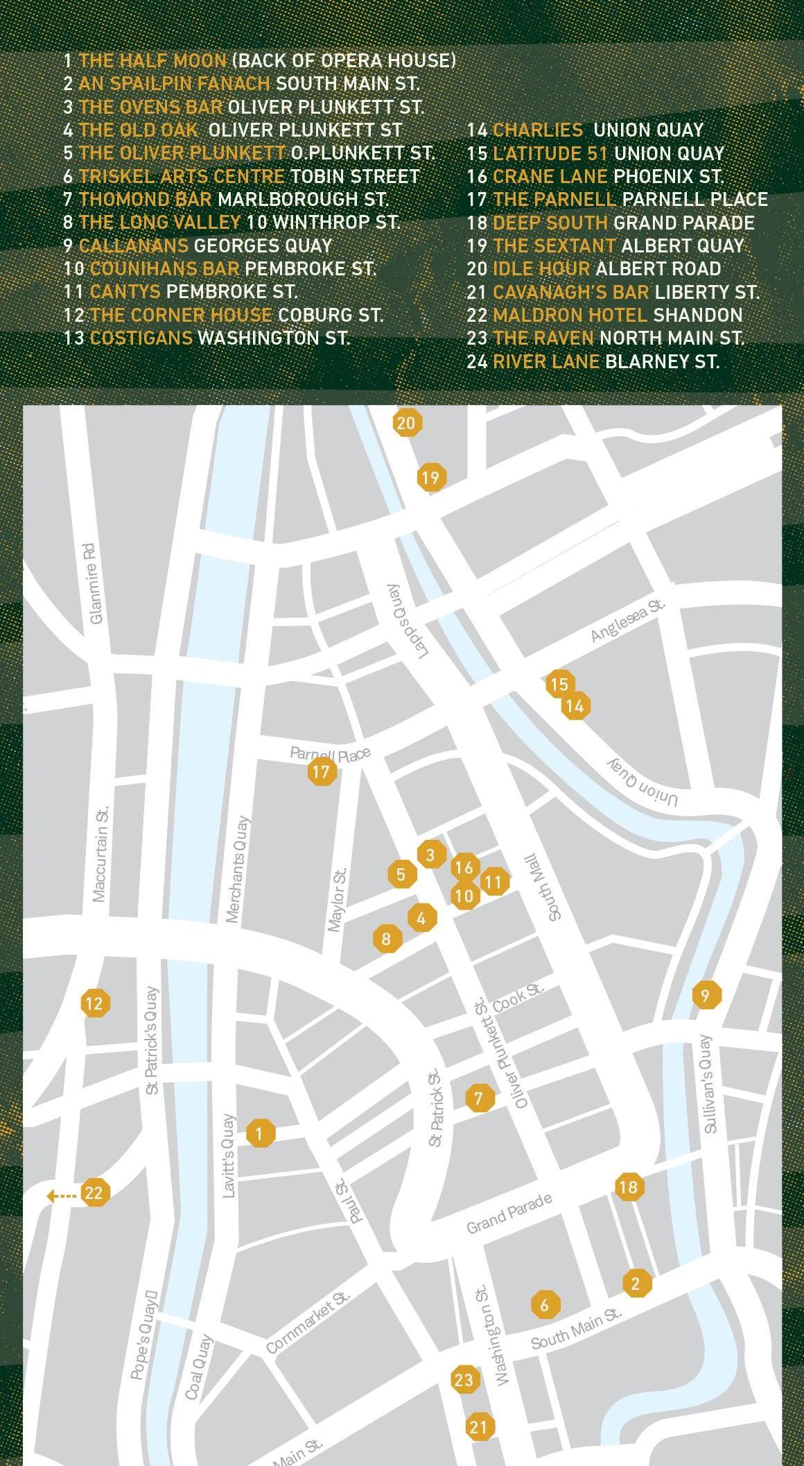 Map of Cork Folk Festival venues